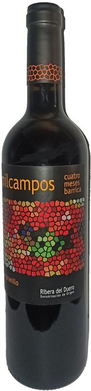 Botella de vino de milcampos roble