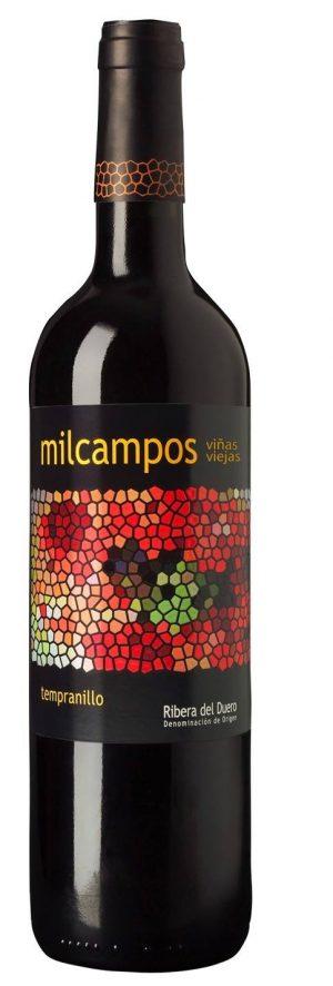 Botella de vino milcampos roble